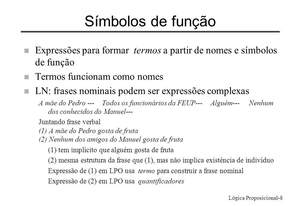 Lógica Proposicional-8 Símbolos de função n Expressões para formar termos a partir de nomes e símbolos de função n Termos funcionam como nomes n LN: f