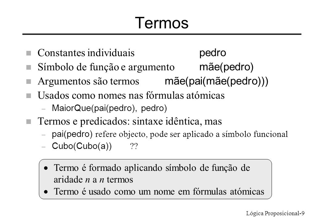 Lógica Proposicional-9 Termos Constantes individuais pedro Símbolo de função e argumento mãe(pedro) Argumentos são termos mãe(pai(mãe(pedro))) n Usado