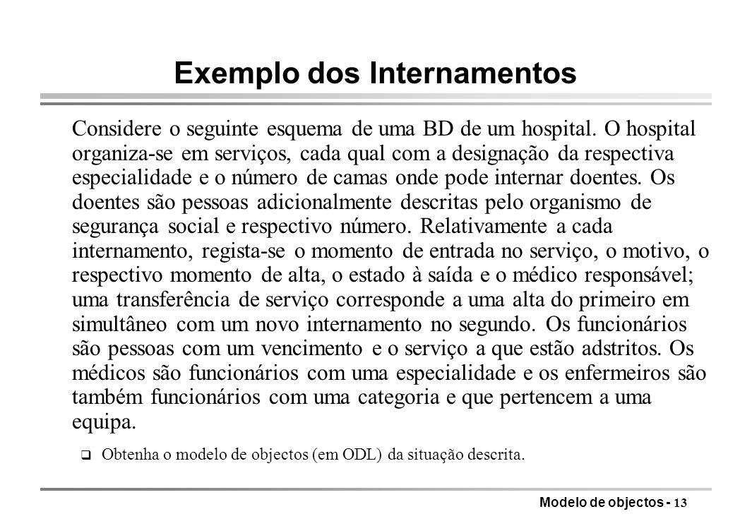 Modelo de objectos - 13 Exemplo dos Internamentos Considere o seguinte esquema de uma BD de um hospital. O hospital organiza-se em serviços, cada qual