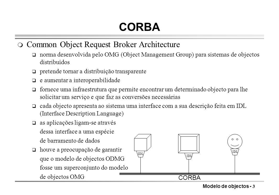 Modelo de objectos - 3 CORBA m Common Object Request Broker Architecture q norma desenvolvida pelo OMG (Object Management Group) para sistemas de obje