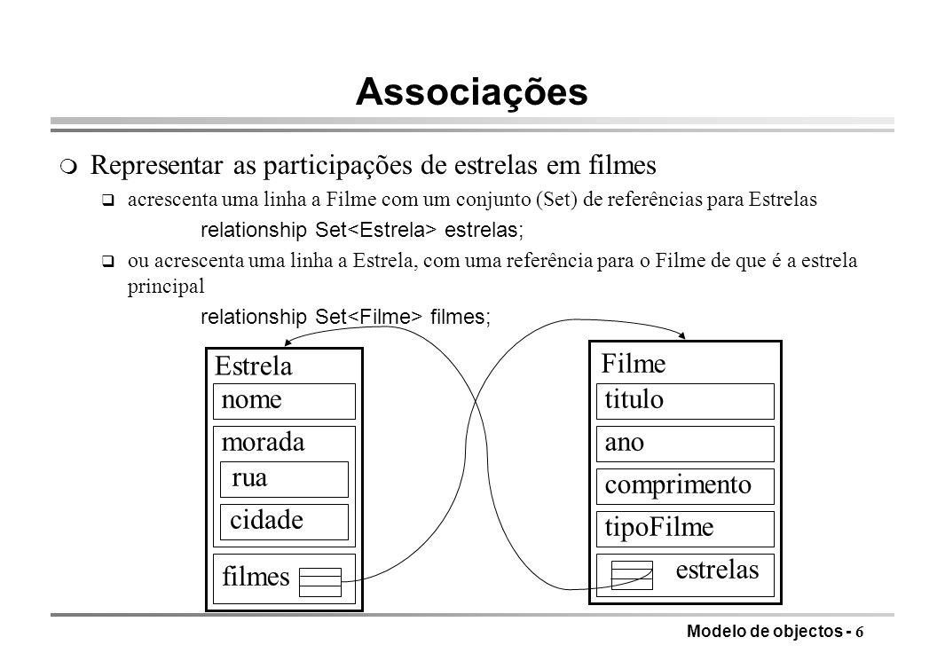 Modelo de objectos - 6 Associações m Representar as participações de estrelas em filmes q acrescenta uma linha a Filme com um conjunto (Set) de referê