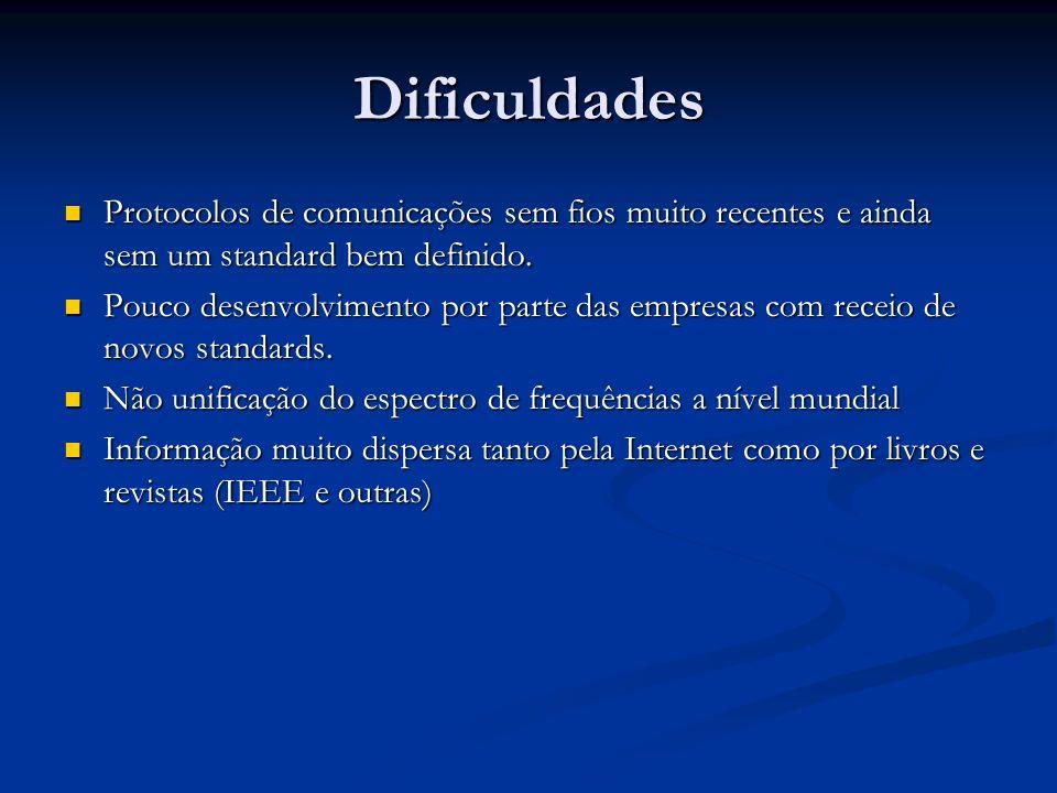 Dificuldades Protocolos de comunicações sem fios muito recentes e ainda sem um standard bem definido.