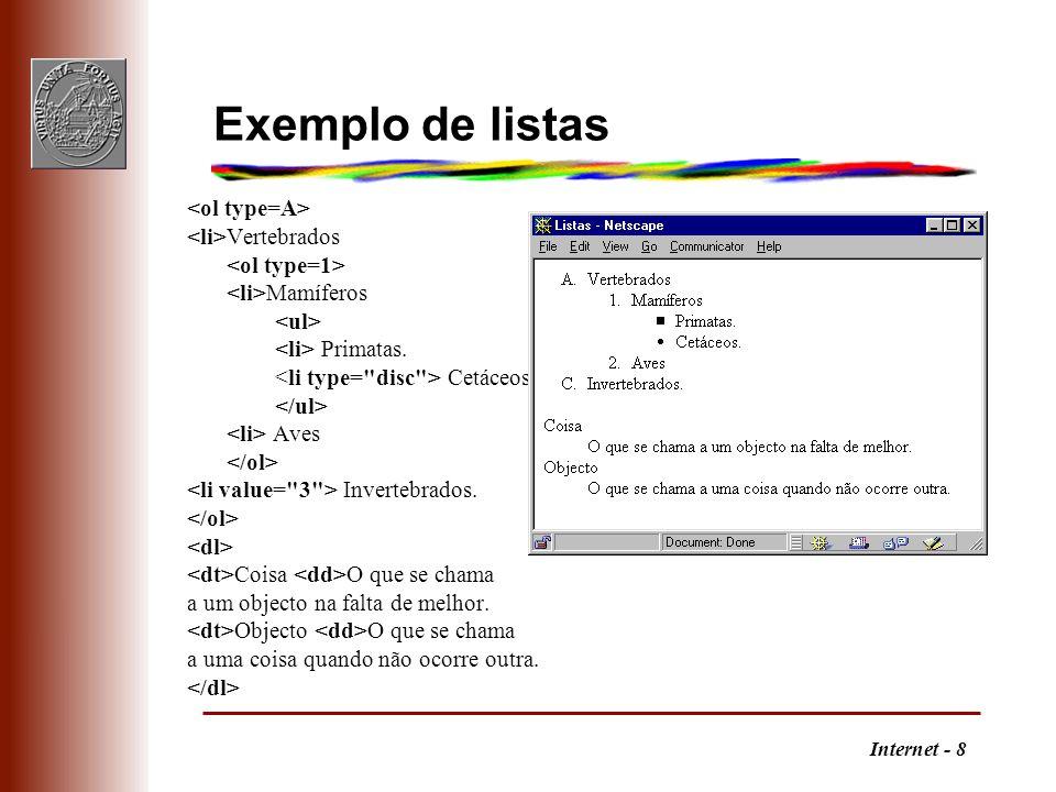 Internet - 8 Exemplo de listas Vertebrados Mamíferos Primatas.