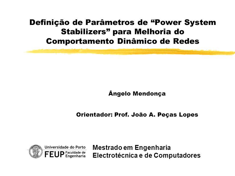 Definição de Parâmetros de Power System Stabilizers para Melhoria do Comportamento Dinâmico de Redes Ângelo Mendonça Orientador: Prof. João A. Peças L