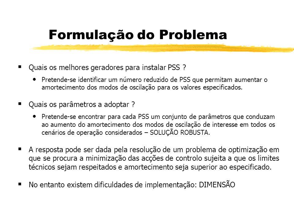 Formulação do Problema Quais os melhores geradores para instalar PSS ? Pretende-se identificar um número reduzido de PSS que permitam aumentar o amort
