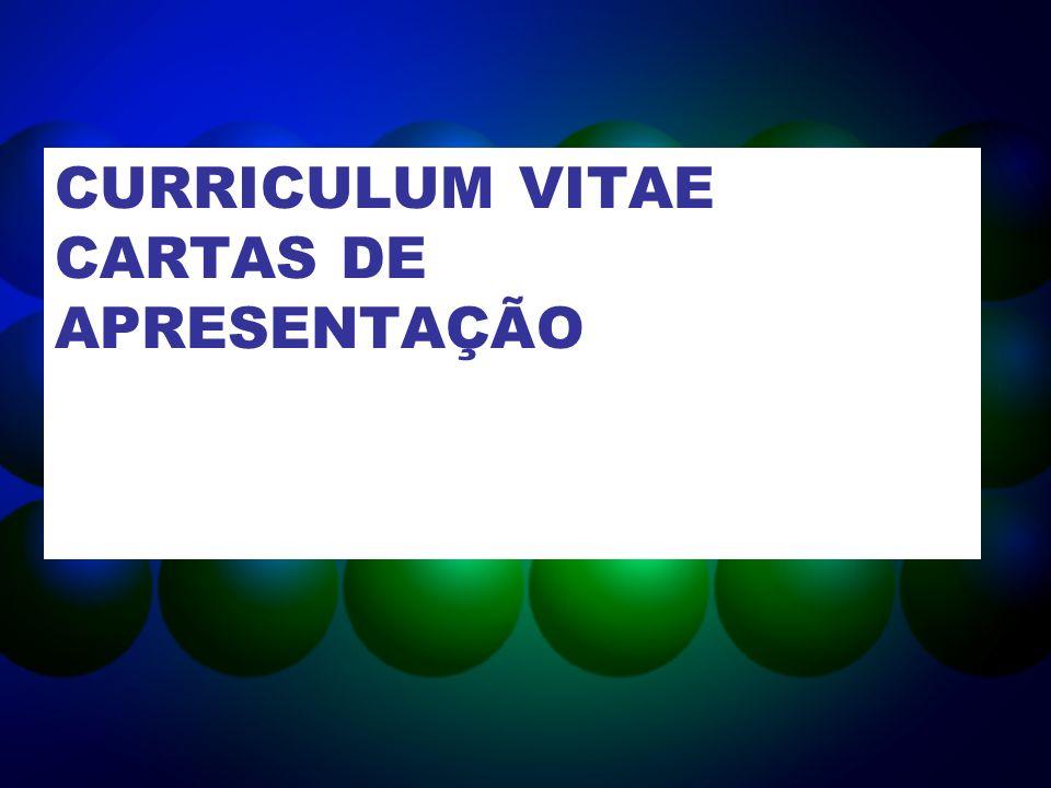CURRICULUM VITAE CARTAS DE APRESENTAÇÃO