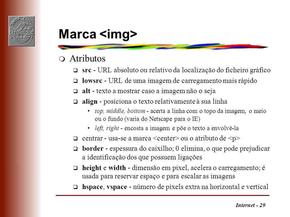 Internet - 29 Marca m Atributos q src - URL absoluto ou relativo da localização do ficheiro gráfico q lowsrc - URL de uma imagem de carregamento mais