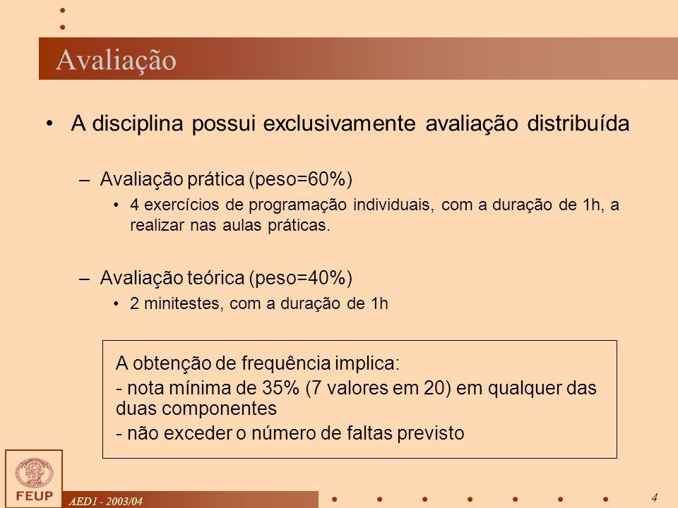 AED1 - 2003/04 4 Avaliação A disciplina possui exclusivamente avaliação distribuída –Avaliação prática (peso=60%) 4 exercícios de programação individuais, com a duração de 1h, a realizar nas aulas práticas.