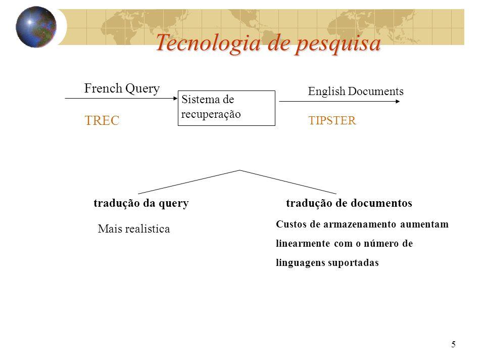 5 Tecnologia de pesquisa Sistema de recuperação French Query TREC English Documents TIPSTER tradução da query tradução de documentos Mais realistica Custos de armazenamento aumentam linearmente com o número de linguagens suportadas