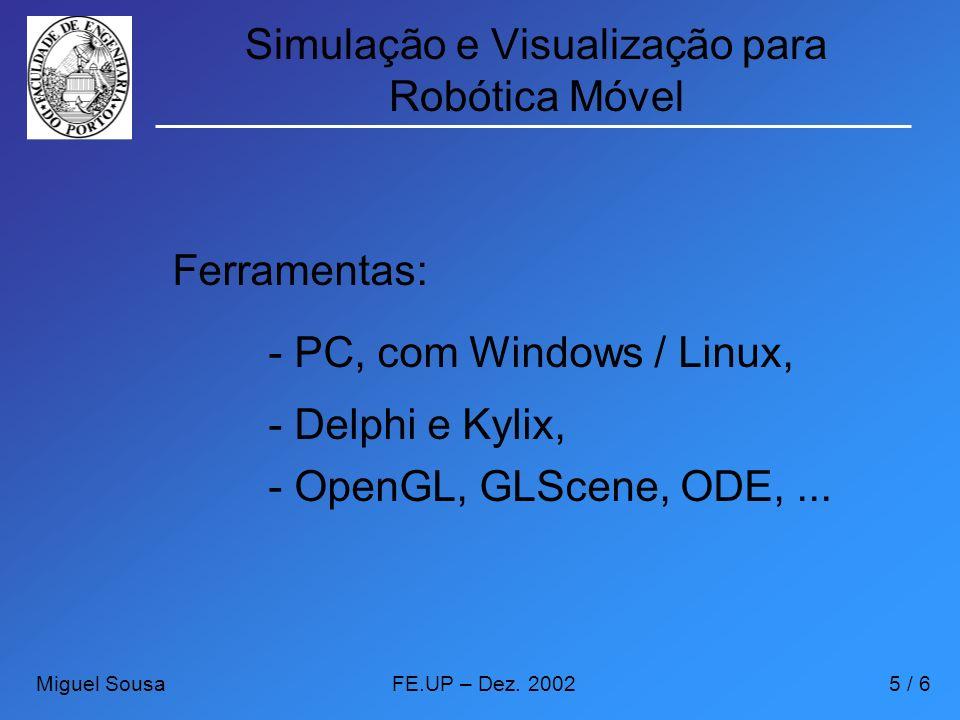 Simulação e Visualização para Robótica Móvel Ferramentas: - PC, com Windows / Linux, - Delphi e Kylix, - OpenGL, GLScene, ODE,... Miguel SousaFE.UP –
