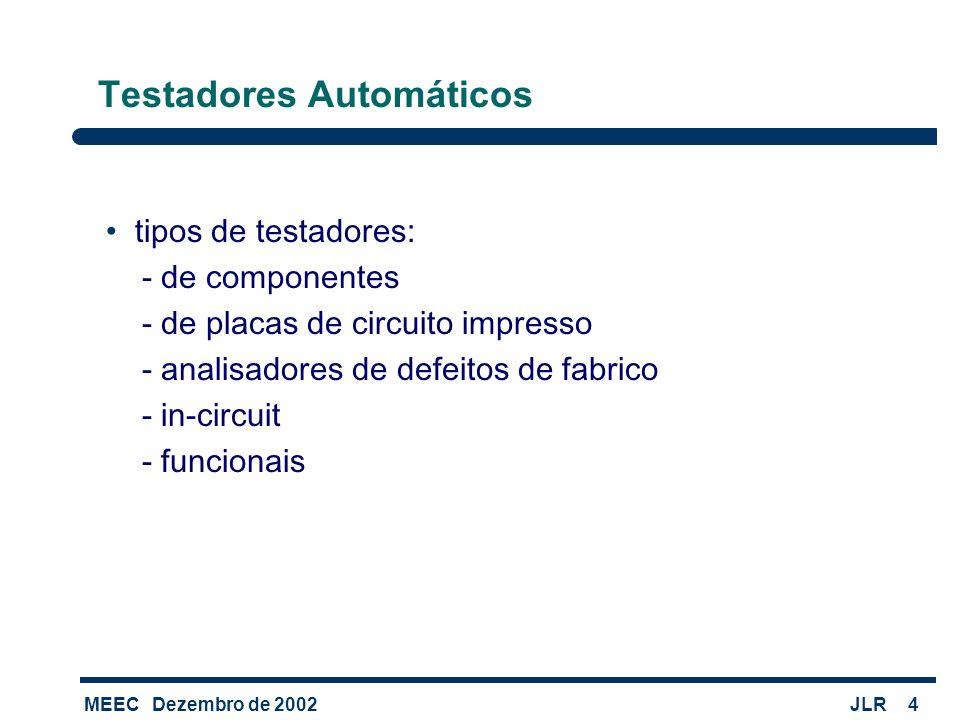 MEECDezembro de 2002JLR4 Testadores Automáticos tipos de testadores: - de componentes - de placas de circuito impresso - analisadores de defeitos de f