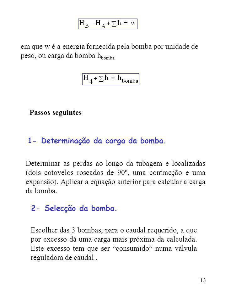 13 em que w é a energia fornecida pela bomba por unidade de peso, ou carga da bomba h bomba Passos seguintes 1- Determinação da carga da bomba. Determ
