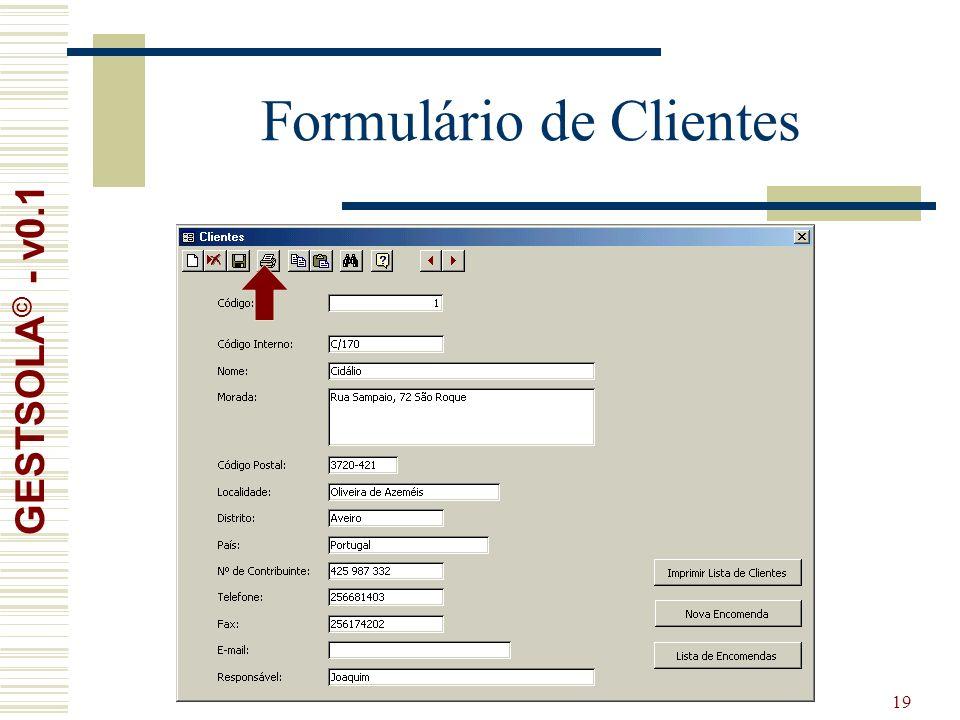 19 Formulário de Clientes GESTSOLA © - v0.1