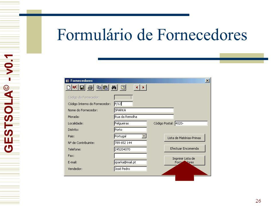 26 Formulário de Fornecedores GESTSOLA © - v0.1