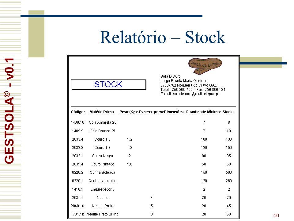 40 Relatório – Stock GESTSOLA © - v0.1