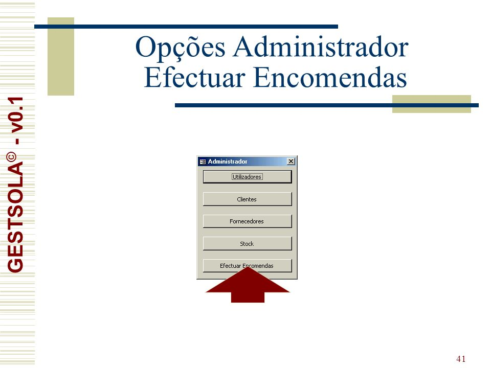 41 Opções Administrador Efectuar Encomendas GESTSOLA © - v0.1