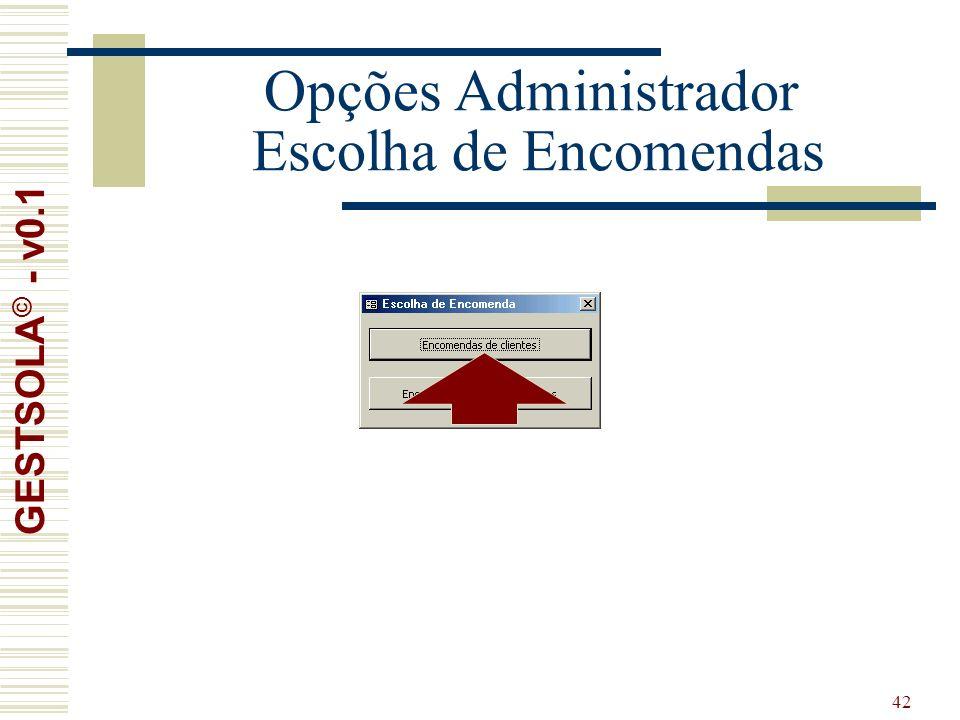 42 Opções Administrador Escolha de Encomendas GESTSOLA © - v0.1