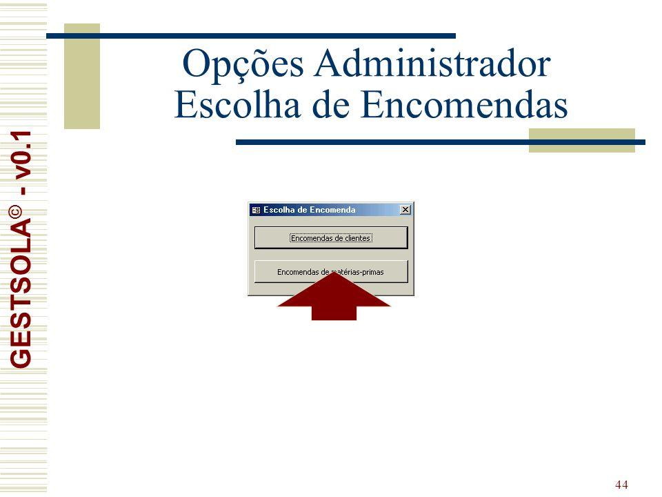 44 Opções Administrador Escolha de Encomendas GESTSOLA © - v0.1