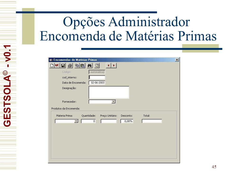 45 Opções Administrador Encomenda de Matérias Primas GESTSOLA © - v0.1