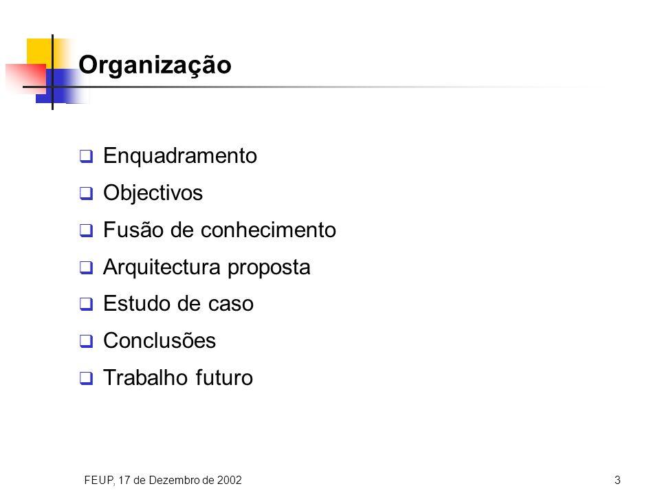 FEUP, 17 de Dezembro de 20023 Organização Enquadramento Objectivos Fusão de conhecimento Arquitectura proposta Estudo de caso Conclusões Trabalho futuro