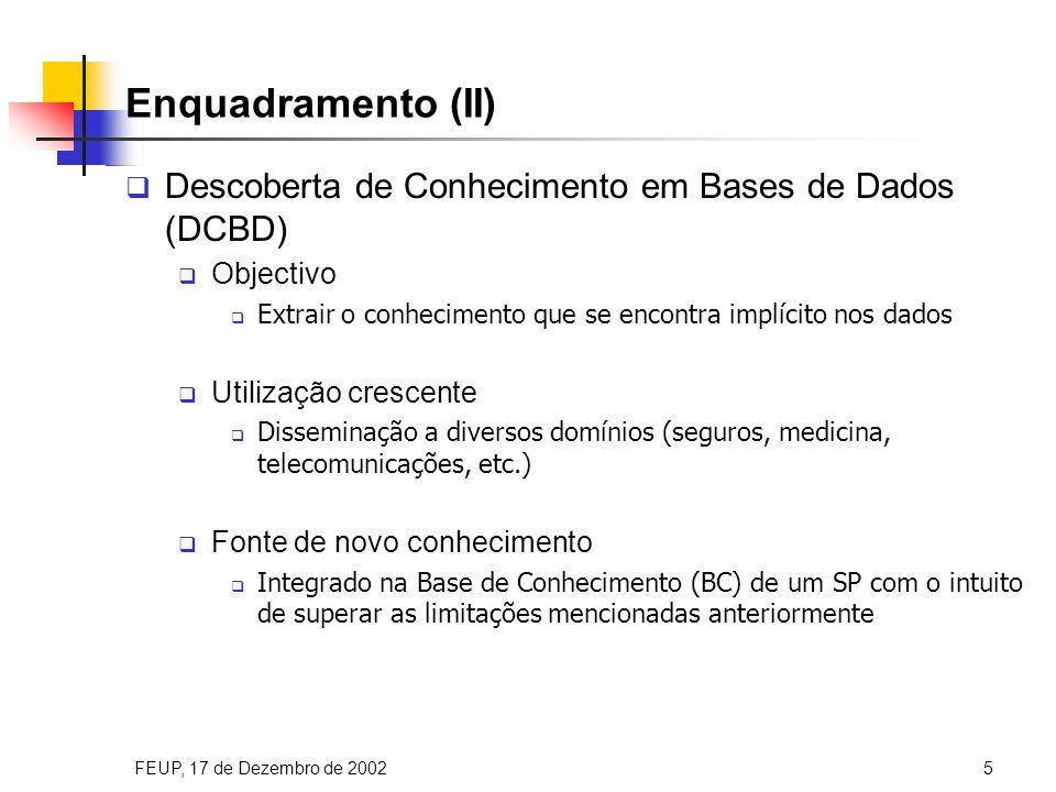 FEUP, 17 de Dezembro de 200216 Identificação das Expansões Finais Identificação das expansões que não são susceptíveis de qualquer desenvolvimento adicional Classificação Anomalias-Erros Identificação Expansões Finais Separação Expansões Geradas Definição Restrições Geração Soluções Possíveis (Tuplos) Aplicação Método Ordenação Tuplos Selecção SMC Regras Definição Factos Possíveis expFBas( 1, `H1`, [`F1`], [`D-r1-L1`] ).