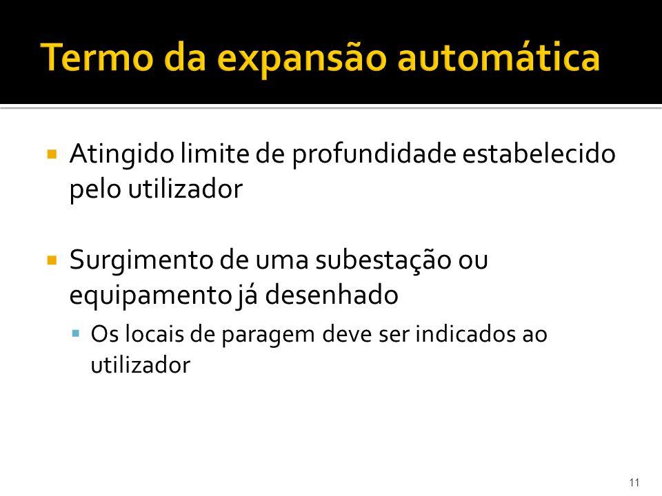 11 Termo da expansão automática Atingido limite de profundidade estabelecido pelo utilizador Surgimento de uma subestação ou equipamento já desenhado