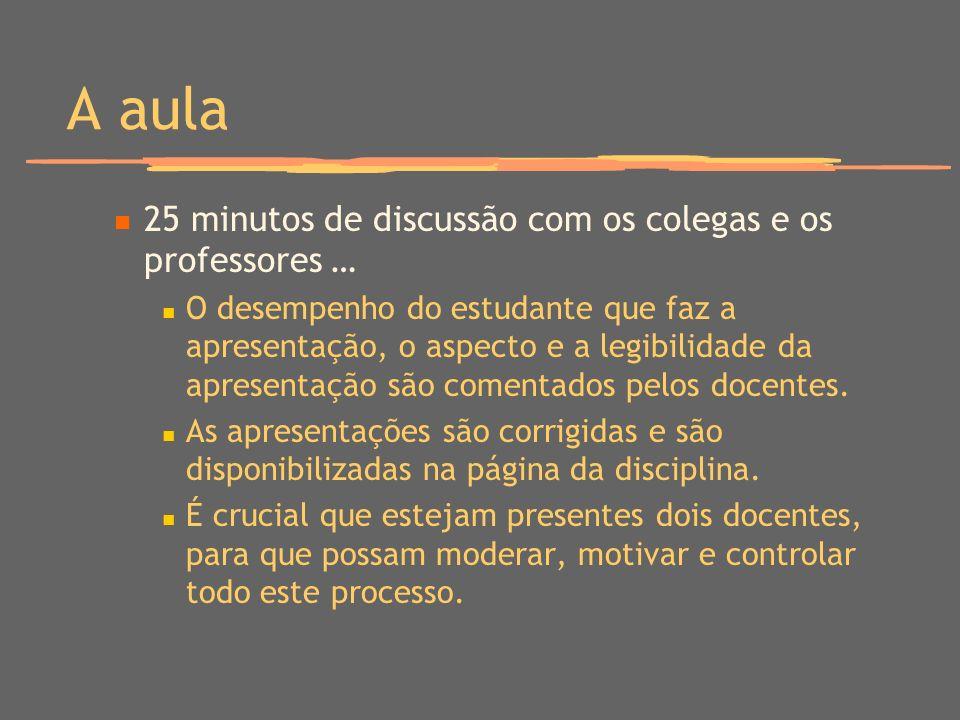 A aula 25 minutos de discussão com os colegas e os professores … O desempenho do estudante que faz a apresentação, o aspecto e a legibilidade da apres