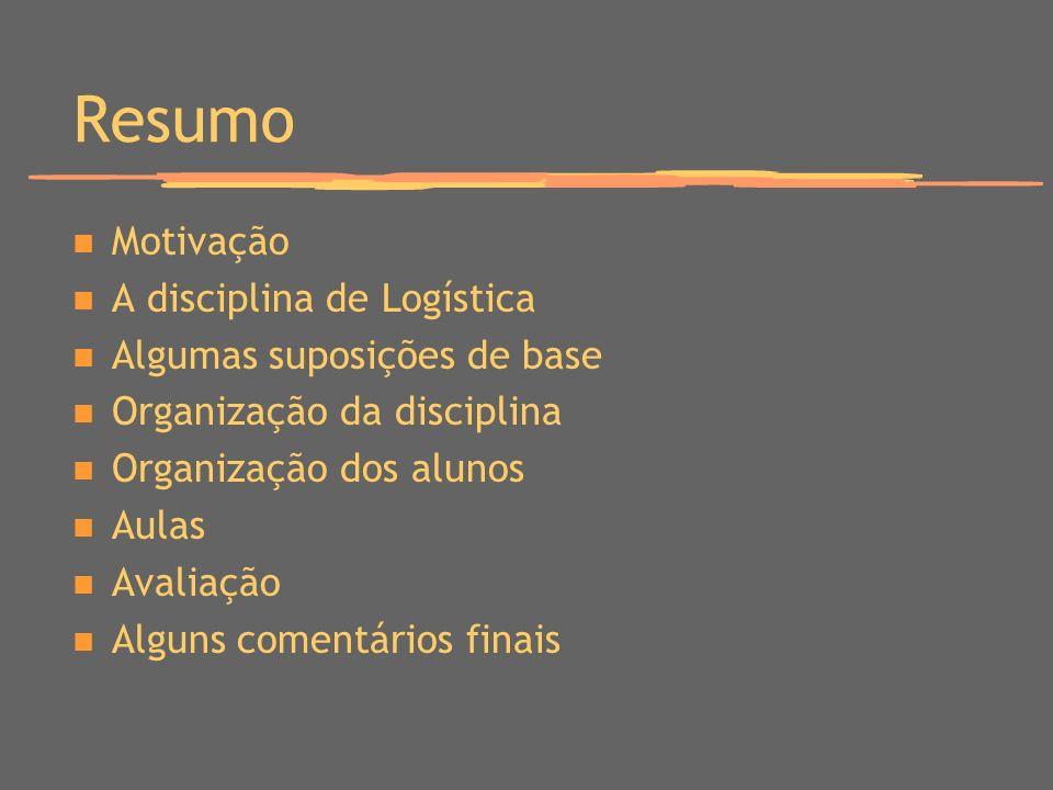 Resumo Motivação A disciplina de Logística Algumas suposições de base Organização da disciplina Organização dos alunos Aulas Avaliação Alguns comentár