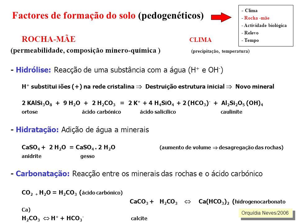 ROCHA-MÃE CLIMA (permeabilidade, composição minero-química ) (precipitação, temperatura) - Hidrólise: Reacção de uma substância com a água (H + e OH -