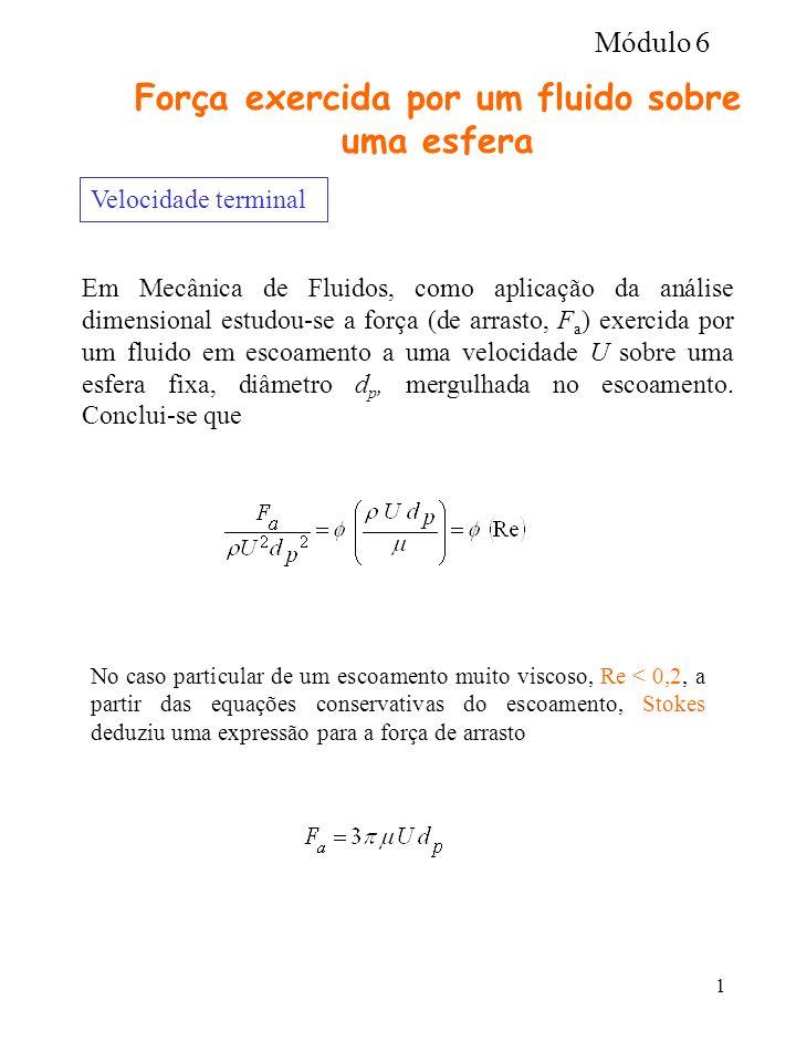 1 Força exercida por um fluido sobre uma esfera Velocidade terminal Em Mecânica de Fluidos, como aplicação da análise dimensional estudou-se a força (de arrasto, F a ) exercida por um fluido em escoamento a uma velocidade U sobre uma esfera fixa, diâmetro d p, mergulhada no escoamento.