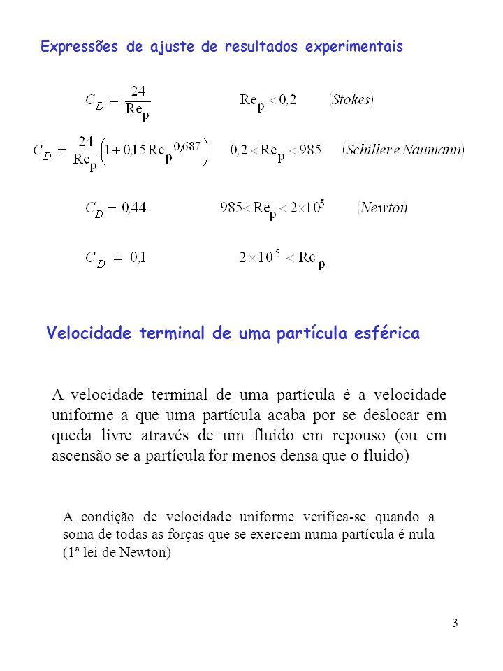 3 Expressões de ajuste de resultados experimentais Velocidade terminal de uma partícula esférica A velocidade terminal de uma partícula é a velocidade uniforme a que uma partícula acaba por se deslocar em queda livre através de um fluido em repouso (ou em ascensão se a partícula for menos densa que o fluido) A condição de velocidade uniforme verifica-se quando a soma de todas as forças que se exercem numa partícula é nula (1ª lei de Newton)