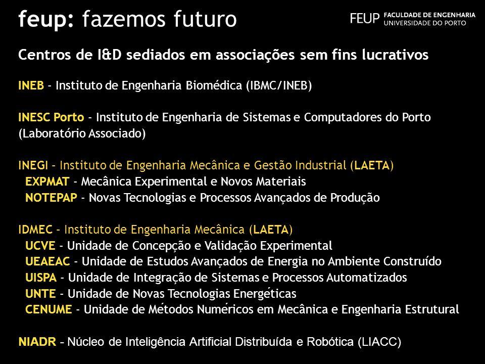 feup: fazemos futuro Centros de I&D sediados em associações sem fins lucrativos INEB - Instituto de Engenharia Biomédica (IBMC/INEB) INESC Porto - Ins