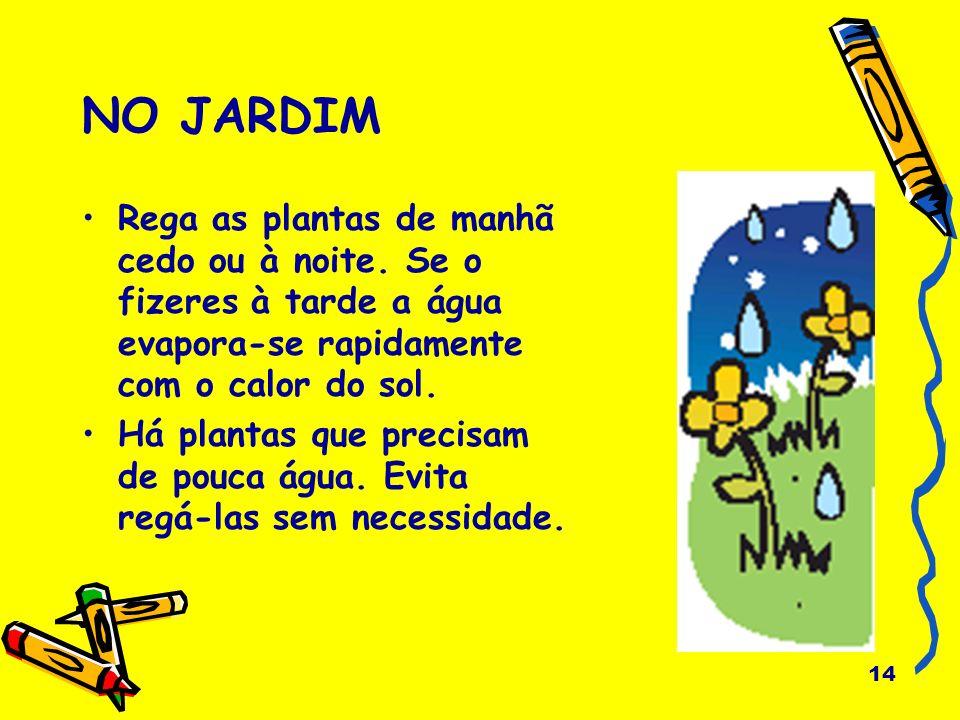 14 NO JARDIM Rega as plantas de manhã cedo ou à noite. Se o fizeres à tarde a água evapora-se rapidamente com o calor do sol. Há plantas que precisam