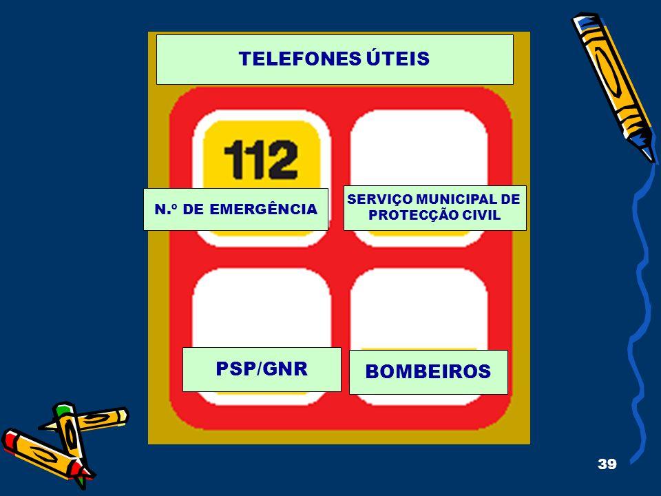 39 N.º DE EMERGÊNCIA SERVIÇO MUNICIPAL DE PROTECÇÃO CIVIL PSP/GNR BOMBEIROS TELEFONES ÚTEIS