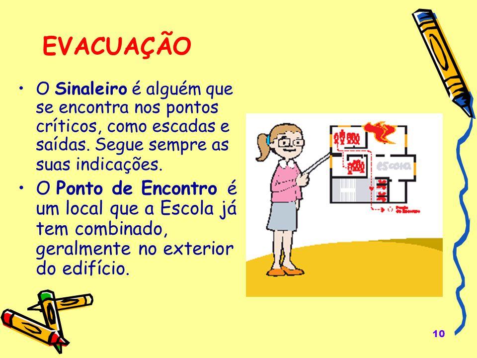 10 EVACUAÇÃO O Sinaleiro é alguém que se encontra nos pontos críticos, como escadas e saídas.
