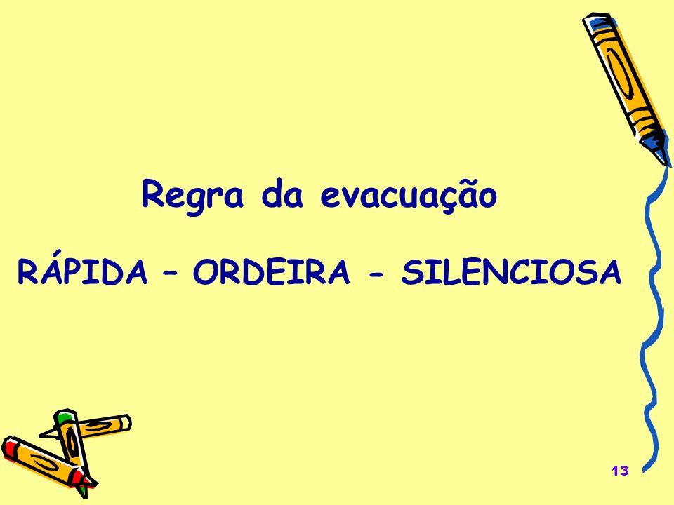 13 Regra da evacuação RÁPIDA – ORDEIRA - SILENCIOSA