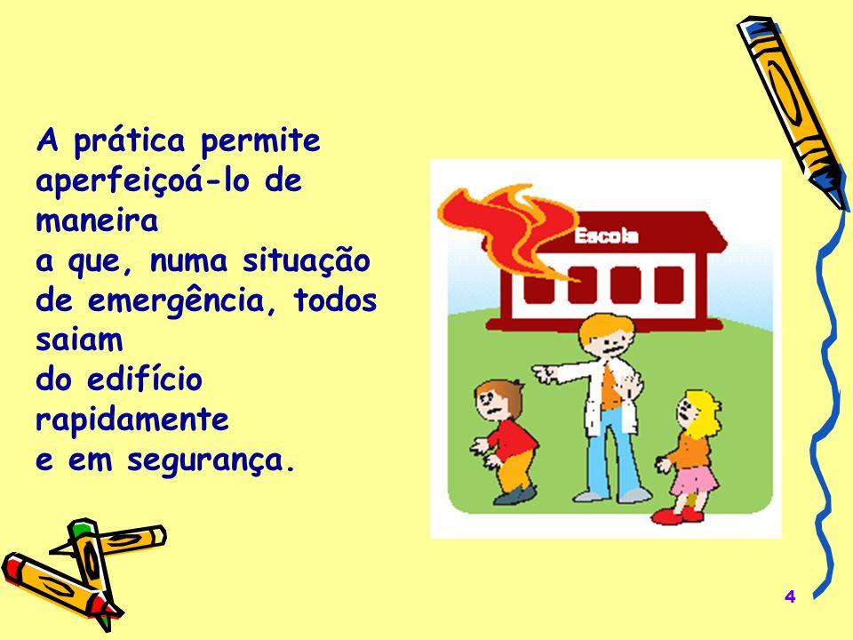 4 A prática permite aperfeiçoá-lo de maneira a que, numa situação de emergência, todos saiam do edifício rapidamente e em segurança.