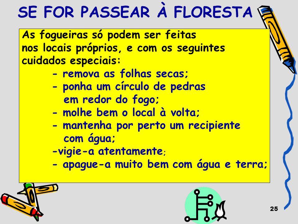 25 SE FOR PASSEAR À FLORESTA As fogueiras só podem ser feitas nos locais próprios, e com os seguintes cuidados especiais: - remova as folhas secas; -