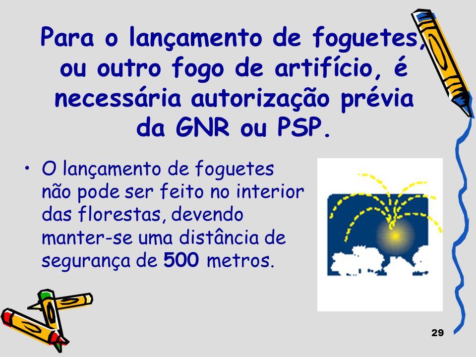 29 Para o lançamento de foguetes, ou outro fogo de artifício, é necessária autorização prévia da GNR ou PSP. O lançamento de foguetes não pode ser fei