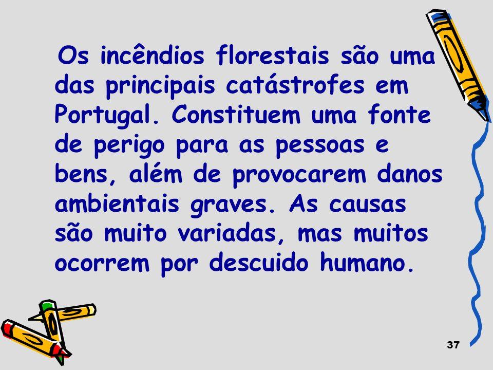 37 Os incêndios florestais são uma das principais catástrofes em Portugal. Constituem uma fonte de perigo para as pessoas e bens, além de provocarem d