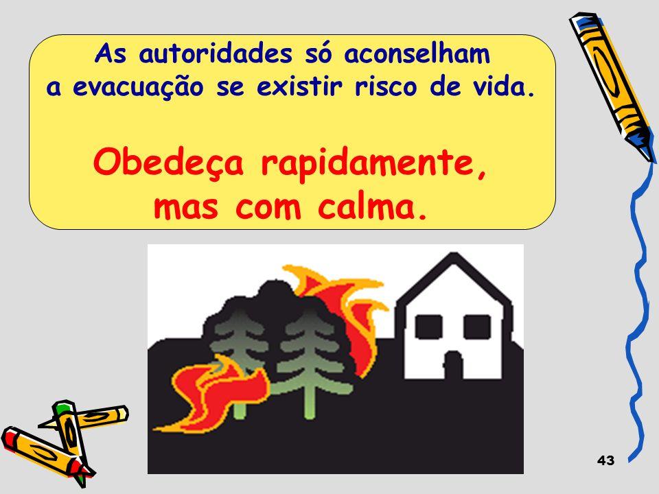 43 As autoridades só aconselham a evacuação se existir risco de vida. Obedeça rapidamente, mas com calma.