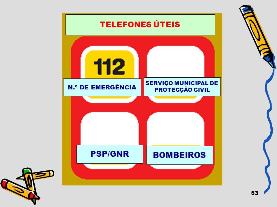 53 N.º DE EMERGÊNCIA SERVIÇO MUNICIPAL DE PROTECÇÃO CIVIL PSP/GNR BOMBEIROS TELEFONES ÚTEIS