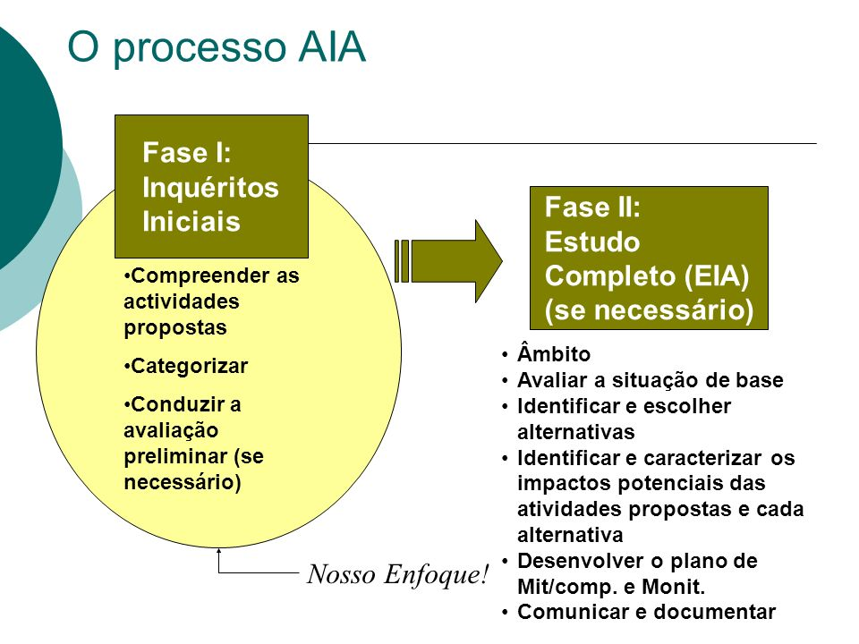 O processo AIA Âmbito Avaliar a situação de base Identificar e escolher alternativas Identificar e caracterizar os impactos potenciais das atividades propostas e cada alternativa Desenvolver o plano de Mit/comp.