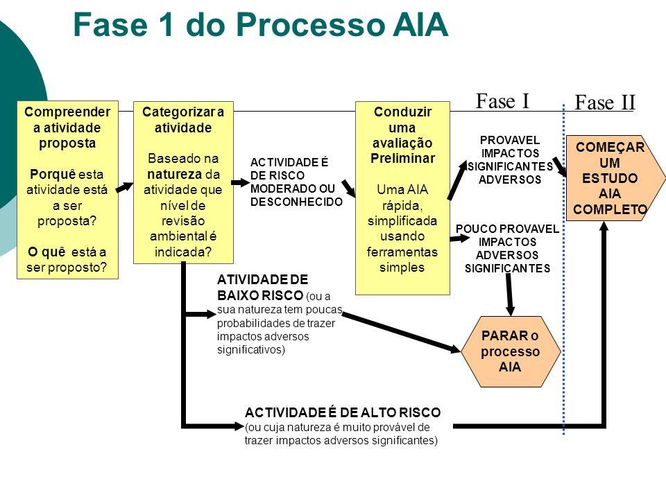 Fase 1 do Processo AIA Categorizar a atividade Baseado na natureza da atividade que nível de revisão ambiental é indicada.
