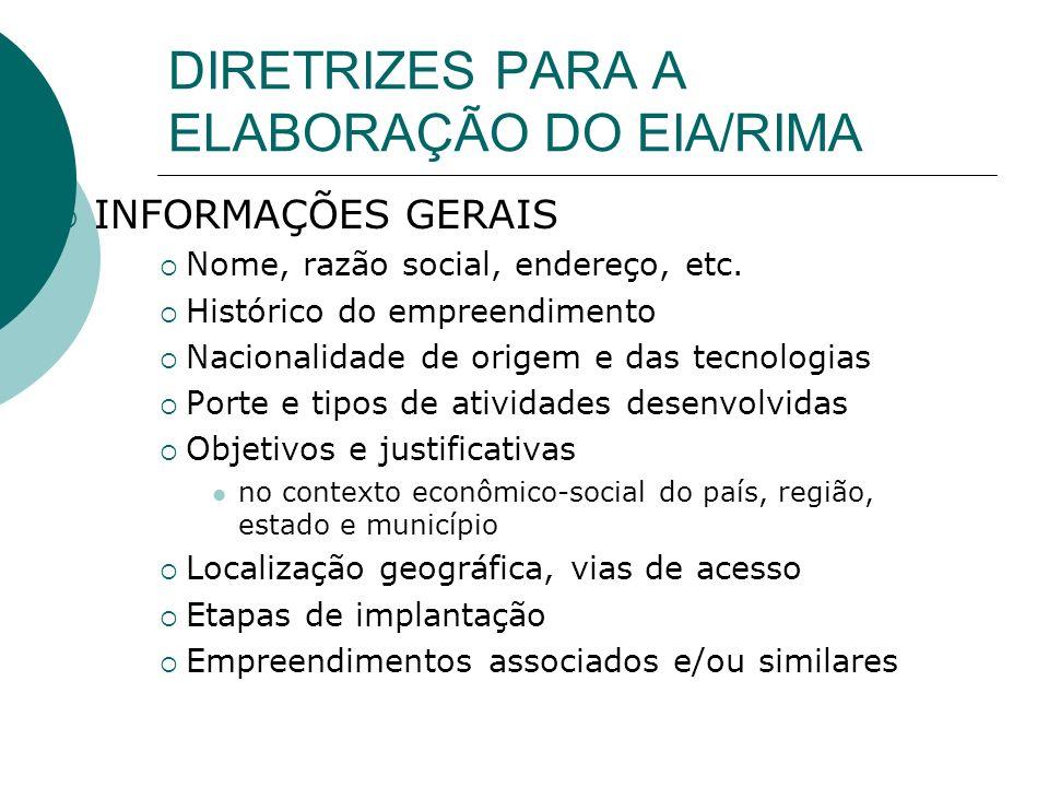 INFORMAÇÕES GERAIS Nome, razão social, endereço, etc.
