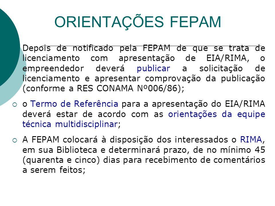 Depois de notificado pela FEPAM de que se trata de licenciamento com apresentação de EIA/RIMA, o empreendedor deverá publicar a solicitação de licenciamento e apresentar comprovação da publicação (conforme a RES CONAMA Nº006/86); o Termo de Referência para a apresentação do EIA/RIMA deverá estar de acordo com as orientações da equipe técnica multidisciplinar; A FEPAM colocará à disposição dos interessados o RIMA, em sua Biblioteca e determinará prazo, de no mínimo 45 (quarenta e cinco) dias para recebimento de comentários a serem feitos; ORIENTAÇÕES FEPAM