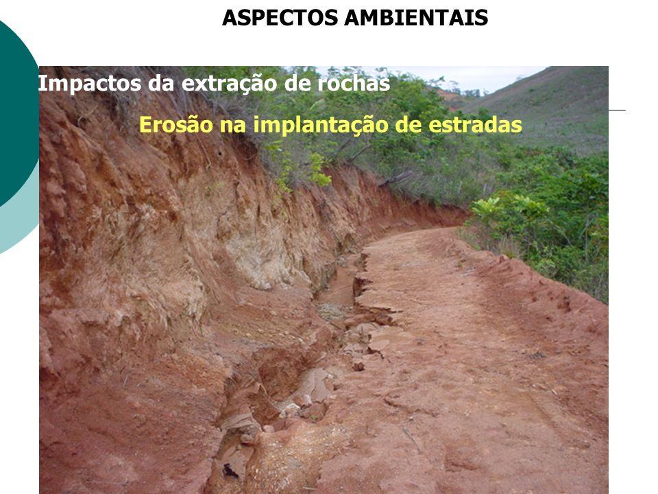 Impactos da extração de rochas Erosão na implantação de estradas ASPECTOS AMBIENTAIS