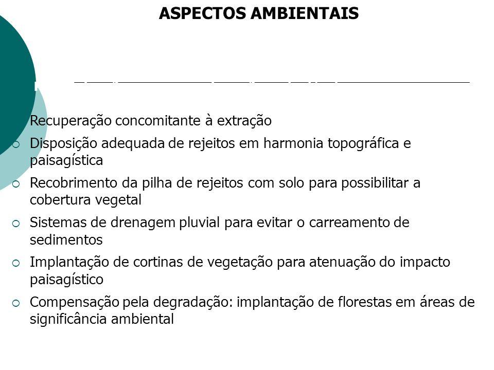 Principais ações para uma mineração sustentável Recuperação concomitante à extração Disposição adequada de rejeitos em harmonia topográfica e paisagística Recobrimento da pilha de rejeitos com solo para possibilitar a cobertura vegetal Sistemas de drenagem pluvial para evitar o carreamento de sedimentos Implantação de cortinas de vegetação para atenuação do impacto paisagístico Compensação pela degradação: implantação de florestas em áreas de significância ambiental ASPECTOS AMBIENTAIS