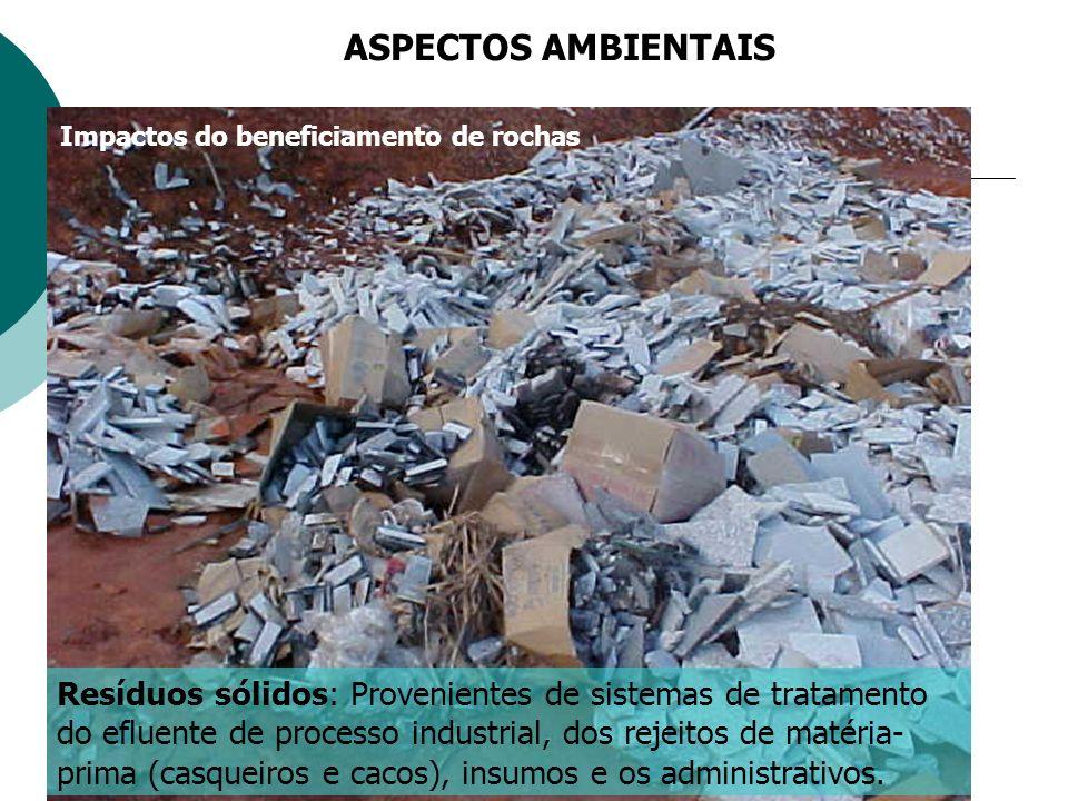 Resíduos sólidos: Provenientes de sistemas de tratamento do efluente de processo industrial, dos rejeitos de matéria- prima (casqueiros e cacos), insumos e os administrativos.