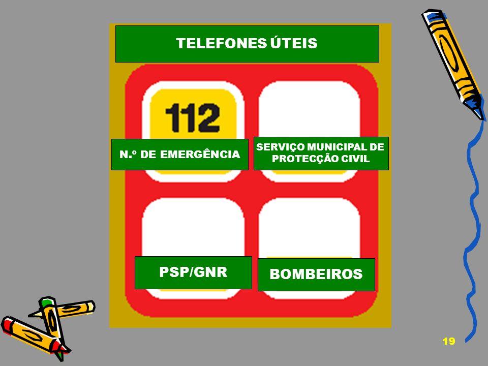 19 N.º DE EMERGÊNCIA SERVIÇO MUNICIPAL DE PROTECÇÃO CIVIL PSP/GNR BOMBEIROS TELEFONES ÚTEIS